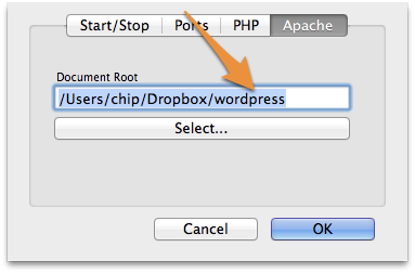 Point MAMP's Apache Preferences to your Wordpress folder within Dropbox