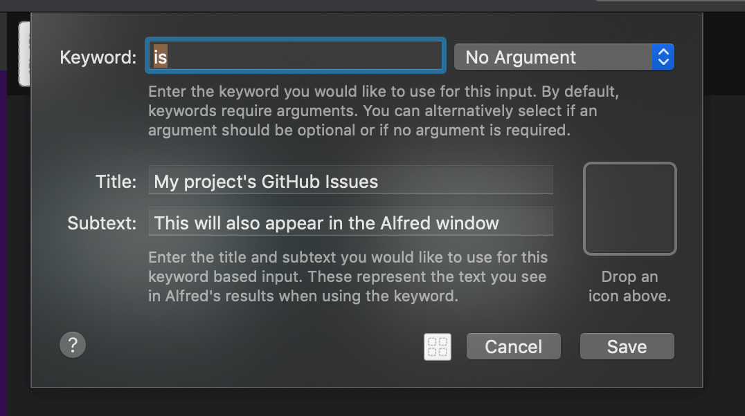 The Alfred Workflow Keyword dialogue