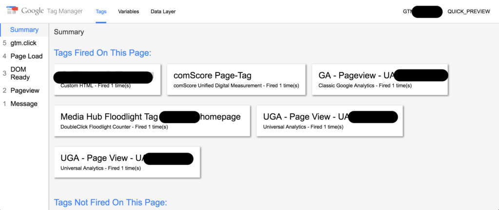 The Google Tag Manager Console